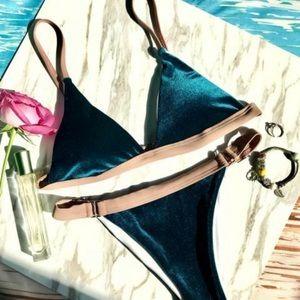 Zaful - Deep Blue - Velvet Brazilian Bikini